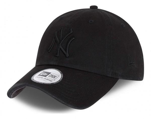 New Era - MLB New York Yankees Team Casual Classic 9Twenty Strapback Cap - Schwarz Ansicht vorne schräg links
