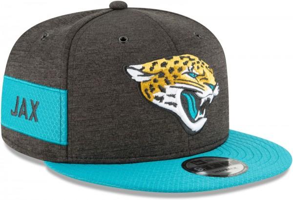 New Era - NFL Jacksonville Jaguars 2018 Sideline Home 9Fifty Snapback Cap - Grau schräg vorne rechts