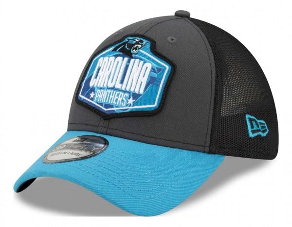 New Era - NFL Carolina Panthers 2021 Draft 39Thirty Trucker Stretch Cap - Mehrfarbig Ansicht vorne schräg links