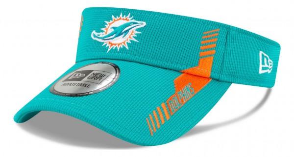 New Era - NFL Miami Dolphins 2021 Sideline Home Visor - Türkis Ansicht vorne schräg links