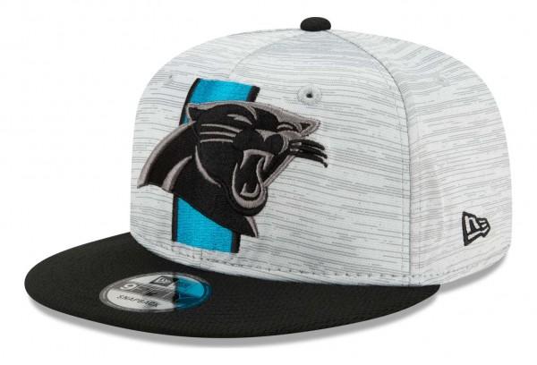 New Era - NFL Carolina Panthers 2021 Training 9Fifty Snapback Cap - Grau-Blau Ansicht vorne schräg links