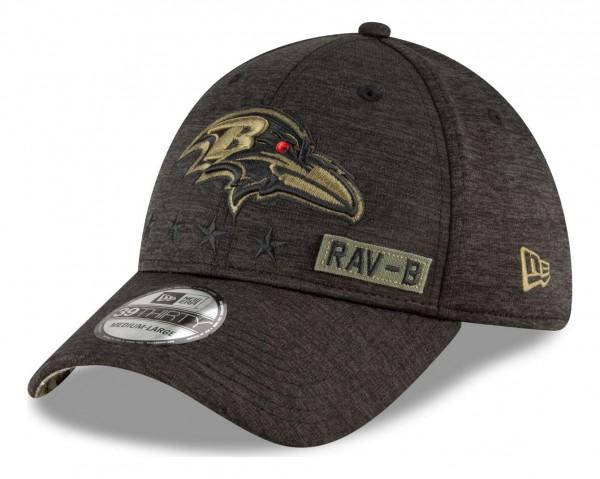 New Era - NFL Baltimore Ravens 2020 Salute to Service 39Thirty Stretch Cap - Schwarz Ansicht vorne schräg rechts