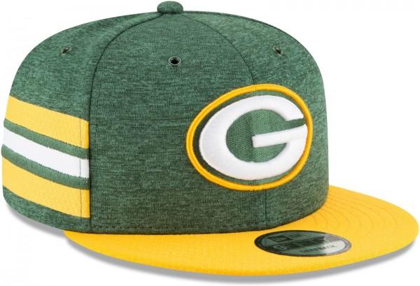 New Era - NFL Green Bay Packers 2018 Sideline Home 9Fifty Snapback Cap - Grün schräg vorne rechts