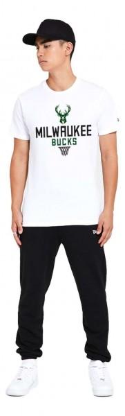 New Era - NBA Milwaukee Bucks Bold Graphic T-Shirt - Weiß Vorderansicht