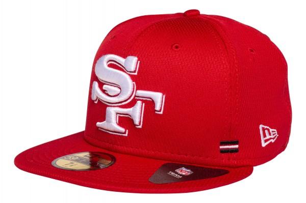 New Era - NFL San Francisco 49ers OnField 2020 Sideline Home 59Fifty Fitted Cap - Rot Ansicht vorne schräg links