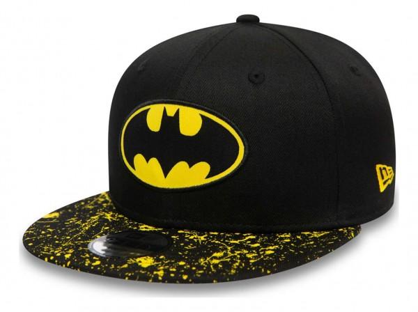 New Era - DC Comics Batman Paint Splat Visor 9Fifty Kids Snapback Cap - Schwarz Ansicht vorne schräg links