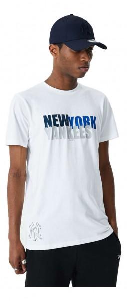 New Era - MLB New York Yankees Colour Block Wordmark T-Shirt - Weiß Vorderansicht