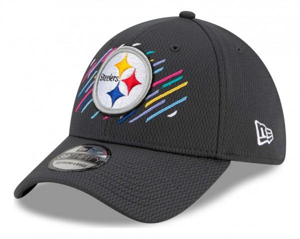 New Era - NFL Pittsburgh Steelers 2021 Crucial Catch 39Thirty - Grau Ansicht vorne schräg links