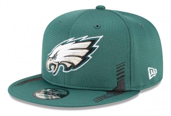 New Era - NFL Philadelphia Eagles 2021 Sideline Home 9Fifty Snapback Cap - Grün Ansicht vorne schräg links