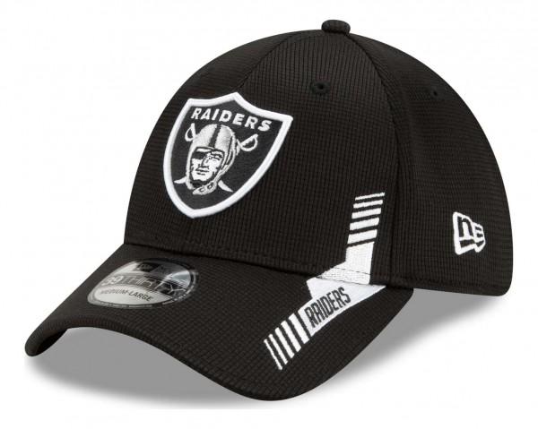 New Era - NFL Las Vegas Raiders 2021 Sideline Home 39Thirty Stretch Cap - Schwarz Ansicht vorne schräg links