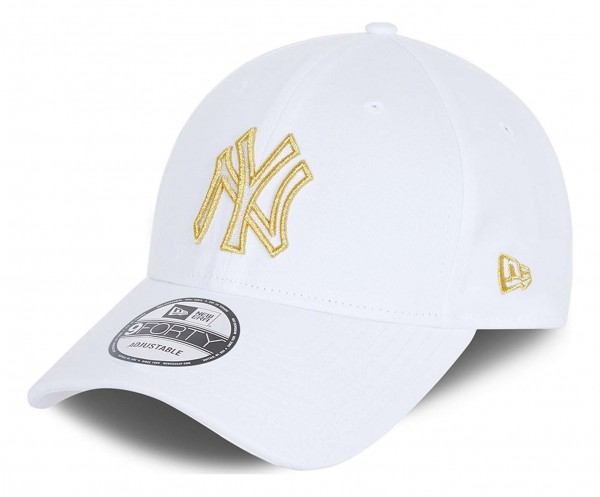 New Era - MLB New York Yankees Metallic Logo 9Forty Strapback Cap - Weiß Ansicht vorne schräg links