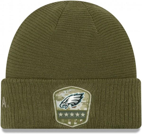New Era - NFL Philadelphia Eagles On Field 2019 Salute to Service Knit Cuff Beanie - Olivgrün Vorderansicht