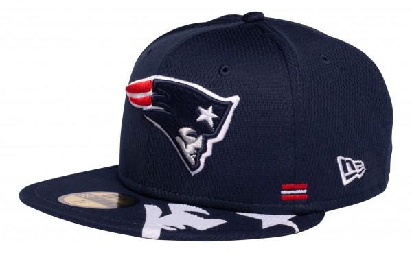 New Era - NFL New England Patriots OnField 2020 Sideline Home 59Fifty Fitted Cap - Blau Ansicht vorne schräg links