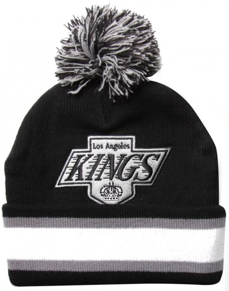 Mitchell & Ness - NHL Los Angeles Kings Black Out Bobble Cuff Beanie - black