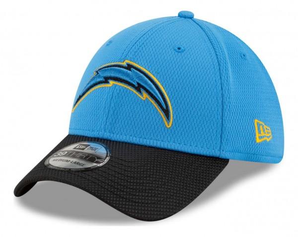 New Era - NFL Los Angeles Chargers 2021 Sideline Road 39Thirty Stretch Cap - Blau Ansicht vorne schräg links