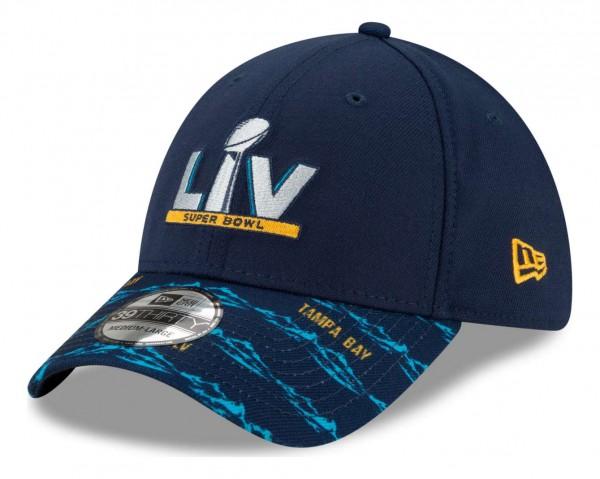 New Era - NFL Super Bowl Super Bowl LV Pattern 39Thirty Stretch Cap - Blau Ansicht vorne schräg links