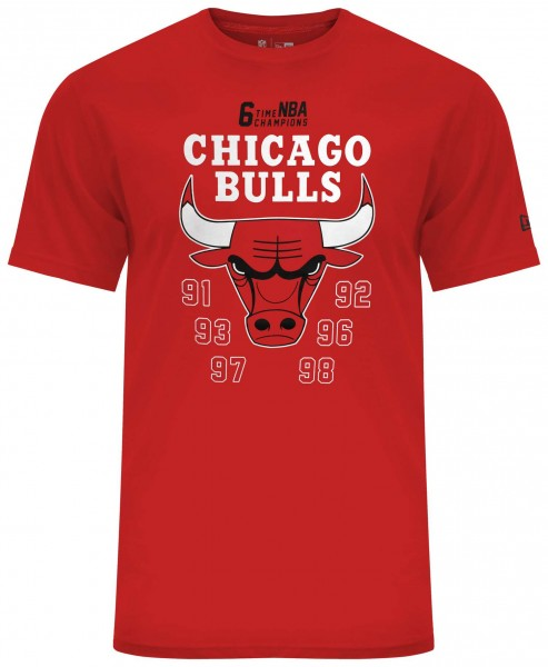 New Era - NBA Chicago Bulls Team Champion T-Shirt - Rot Vorderansicht