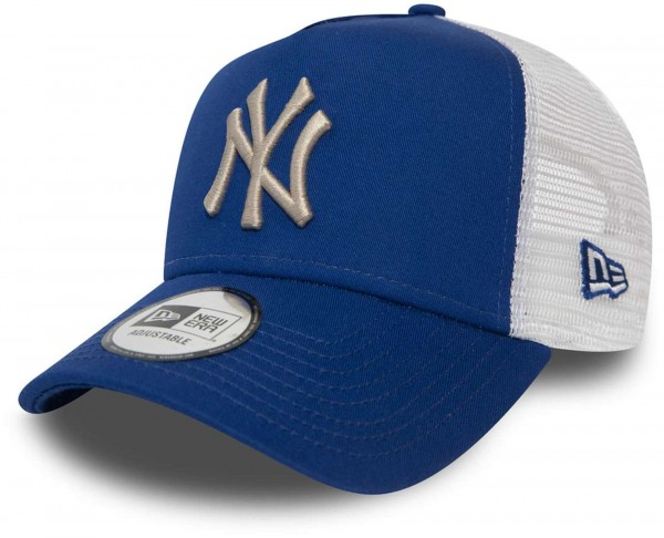 New Era - MLB New York Yankees League Essential Trucker Snapback Cap - Blau Ansicht vorne schräg links