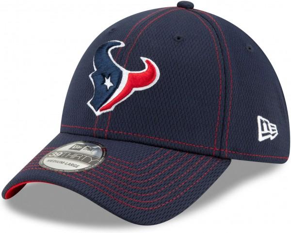 New Era - NFL Houston Texans On Field 2019 Sideline Road 39Thirty Stretch Cap - Blau Ansicht schräg links