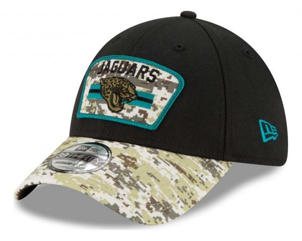 New Era - NFL Jacksonville Jaguars 2021 Salute To Service 39Thirty Stretch Cap - Schwarz Ansicht vorne schräg links