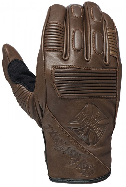 West Coast Choppers - WCC BFU Leather Riding Gloves Leder Handschuhe - braun
