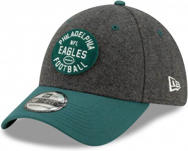 New Era - NFL Philadelphia Eagles On Field 2019 Sideline Home 39Thirty Stretch Cap - Grau Ansicht schräg links