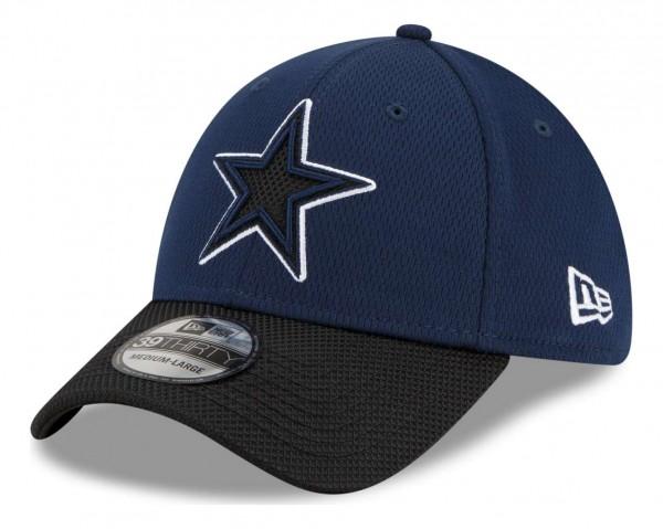 New Era - NFL Dallas Cowboys 2021 Sideline Road 39Thirty Stretch Cap - Blau Ansicht vorne schräg links