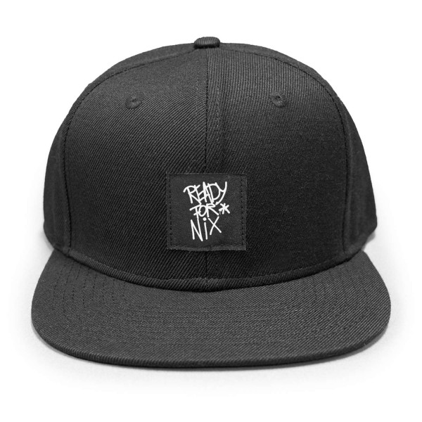Aight* - Ready for Nix Tag Patch Snapback Cap - Schwarz Vorderansicht