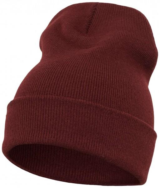 Yupoong - Heavyweight Knit Cuffed Long Beanie - Weinrot Schrägansicht Vorderseite