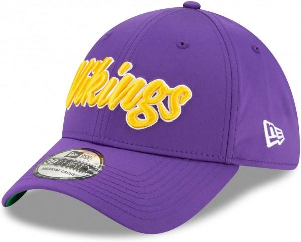 New Era - NFL Minnesota Vikings On Field 2019 Sideline Home 39Thirty Stretch Cap - Violett Ansicht schräg links