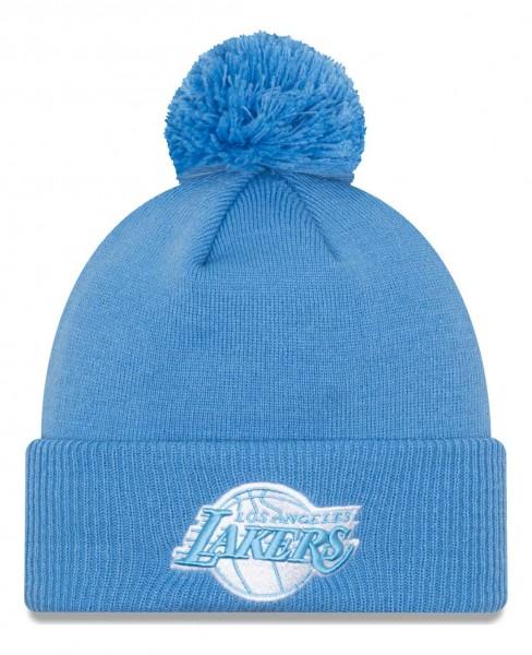 New Era - NBA Los Angeles Lakers 2020 City Series Alternate Knit Bobble Beanie - Blau Vorderansicht