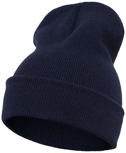 Yupoong - Heavyweight Knit Cuffed Long Beanie - Navyblau Schrägansicht Vorderseite