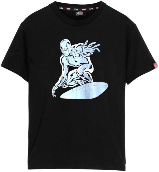 Left Side - Marvel Silver Surfer T-Shirt - Schwarz Frontansicht