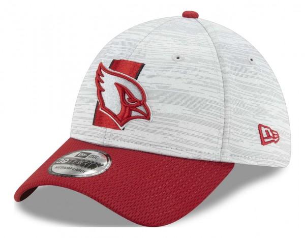 New Era - NFL Arizona Cardinals 20212 Training 39Thirty Stretch Cap - Grau-Rot Ansicht vorne schräg links