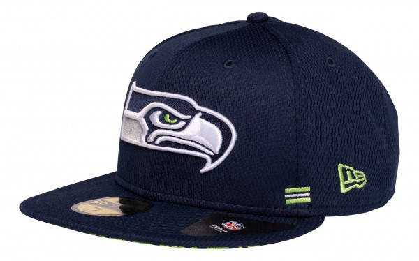 New Era - NFL Seattle Seahawks OnField 2020 Sideline Home 59Fifty Fitted Cap - Blau Ansicht vorne schräg links