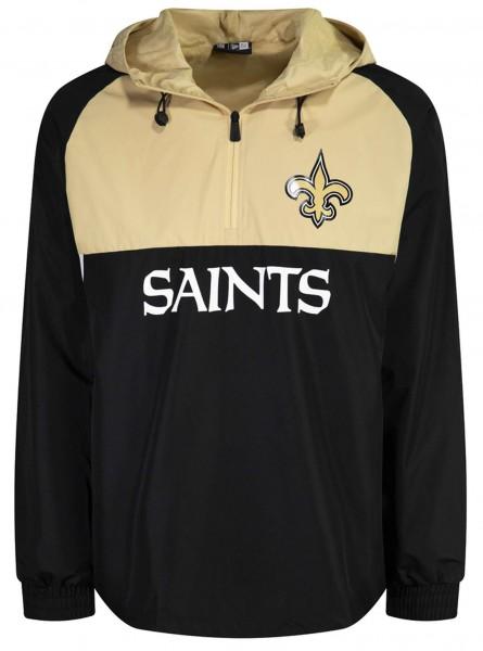 New Era - NFL New Orleans Saints Colour Block Windbreaker Jacke - Schwarz-Beige Vorderansicht