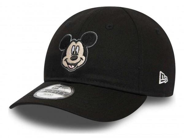 New Era - Disney Mickey Mouse Character Face 9Forty Kids Strapback Cap - Schwarz Ansicht vorne schräg rechts