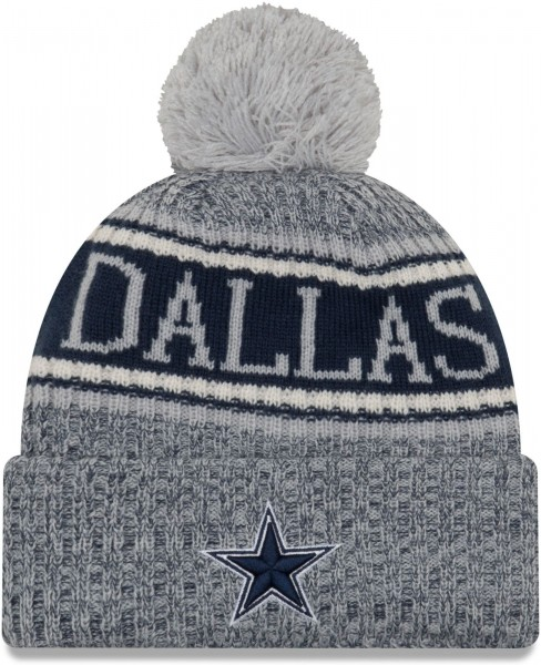 New Era - Dallas Cowboys 2018 Sport Knit Bobble Beanie - Grau-Blau ansicht vorderseite