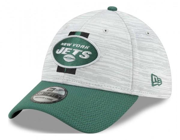New Era - NFL New York Jets 20212 Training 39Thirty Stretch Cap - Grau-Grün Ansicht vorne schräg links