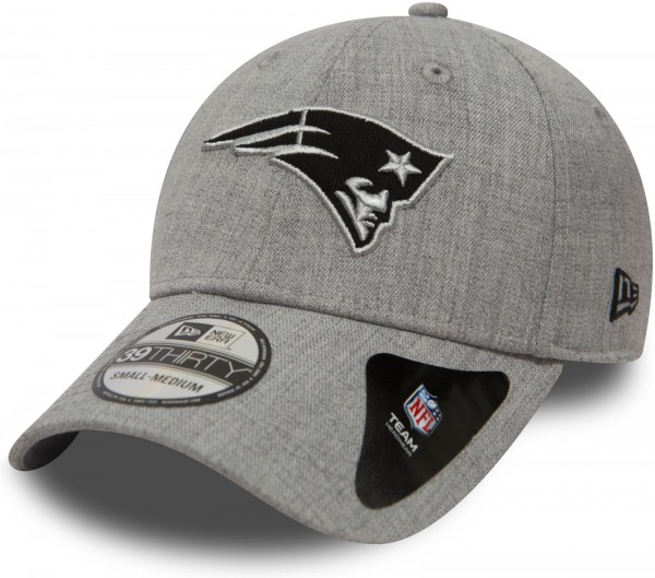 New Era - NFL New England Patriots Heather Essential 39Thirty Stretch Cap - Grau Ansicht schräg vorne