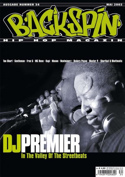 Auf dem Bild ist das Cover zu sehen der BACKSPIN Printausgabe Nummer 34