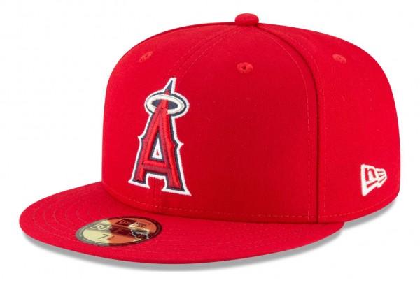 New Era - MLB Los Angeles Angels Authentic Collection Fitted Cap - Rot Ansicht vorne schräg links
