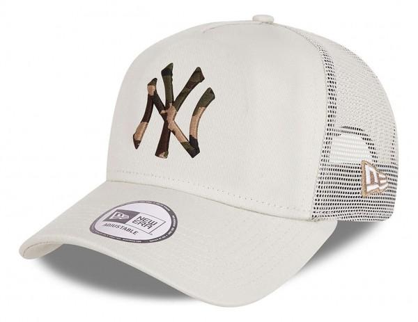 New Era - MLB New York Yankees Camo Infill Trucker Snapback Cap - Grau Ansicht vorne schräg links