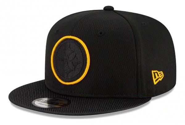 New Era - NFL Pittsburgh Steelers 2021 Sideline Road 9Fifty Snapback Cap - Schwarz Ansicht vorne schräg links