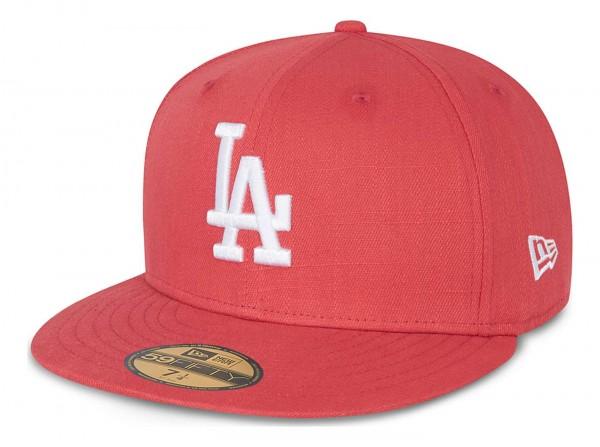 New Era - MLB Los Angeles Dodgers Cotton Ripstop 59Fifty Fitted Cap - Pink Ansicht vorne schräg links