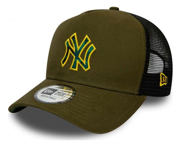 New Era - MLB New York Yankees Check Infill Trucker Snapback Cap - Rot Ansicht vorne schräg links