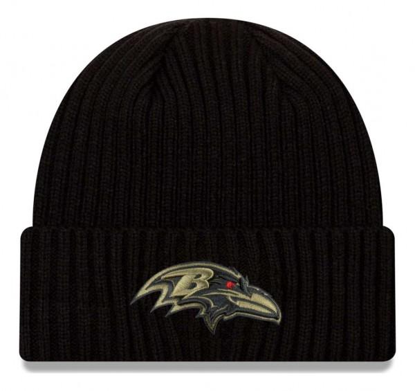 New Era - NFL Baltimore Ravens 2020 Salute to Service Knit Beanie - Schwarz Vorderansicht