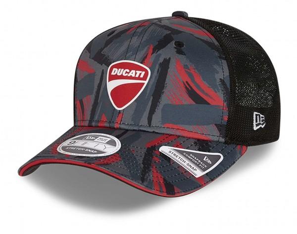 New Era - Ducati AOP 9Fifty Stretch Snapback Cap - Schwarz Ansicht vorne schräg links
