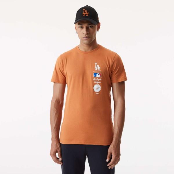 New Era - MLB Los Angeles Dodgers Stack Logo T-Shirt - Orange Vorderansicht