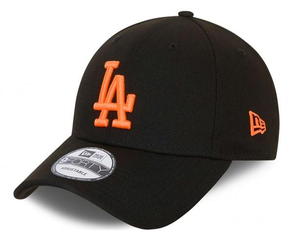 New Era - MLB Los Angeles Dodgers Neon Pack 9Forty Strapback Cap - Schwarz Ansicht vorne schräg links